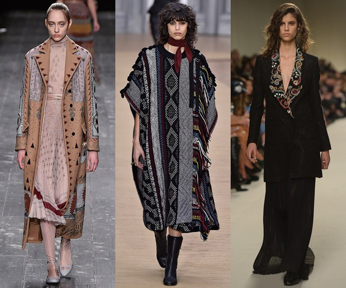 <strong>Hippie shake</strong><br><br> Weaving, fringing, paisley… Clash your prints for a luxe bohemian feel.<br><br> <em>L-R: Valentino, Chloé, Lanvin </em>