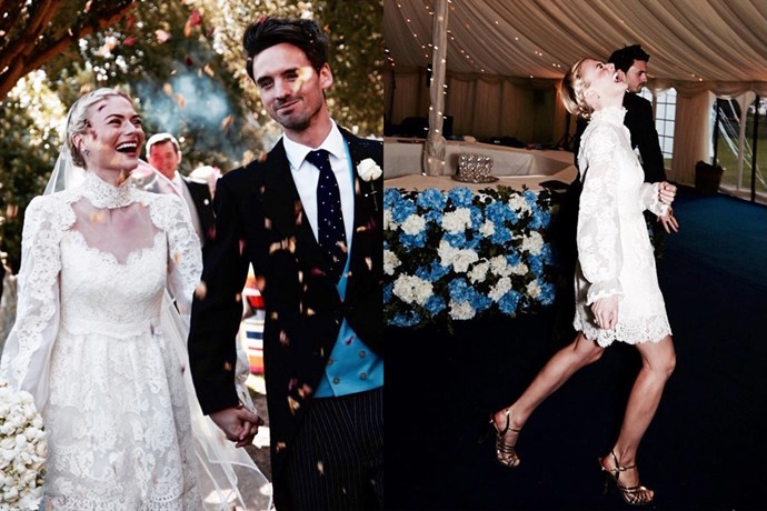 "British fashion writer and stylist <strong>Pandora Sykes</strong> married her partner Ollie Tritton in an Alice Temperley lace dress. The full-length gown featured a removable skirt for the reception—needless to say we're a little obsessed. (Images by Billie Scheepers Photography care of <a href=""https://www.instagram.com/pandorasykes/"">instagram.com/pandorasykes</a>)"
