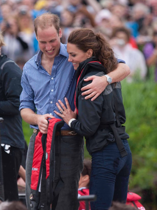 Kate Middleton and Prince William hugging.