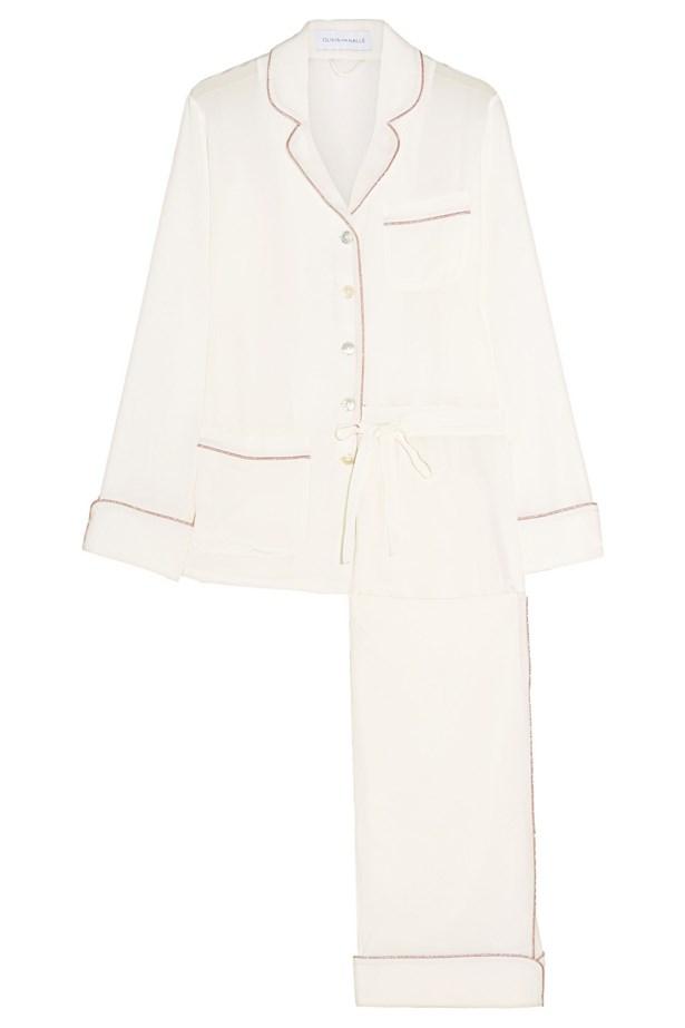 """<a href=""""https://www.net-a-porter.com/au/en/product/683925/olivia_von_halle/gigi-silk-crepe-de-chine-pajama-set"""">Olivia Von Halle, Gigi silk crepe de chine pajama set</a>, $593."""