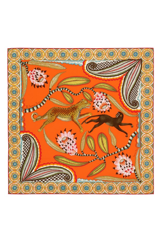 """<a href=""""http://australia.hermes.com/la-maison-des-carres/carre-vintage-100-soie-70cm-the-savana-dance-orange-vert-ja-90910.html"""">Hermès The Savana Dance</a>, $520."""