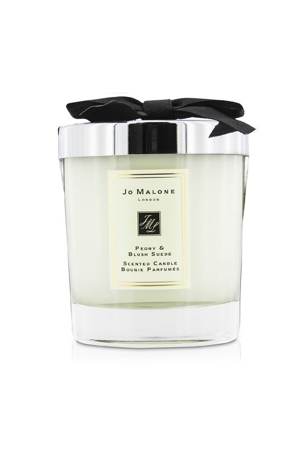 """<a href=""""http://www.jomalone.com.au/product/3560/27607/For-the-Home/Home-Candles/Peony-Blush-Suede-Home-Candle"""">Jo Malone peony and blush suede home candle</a>, $85."""