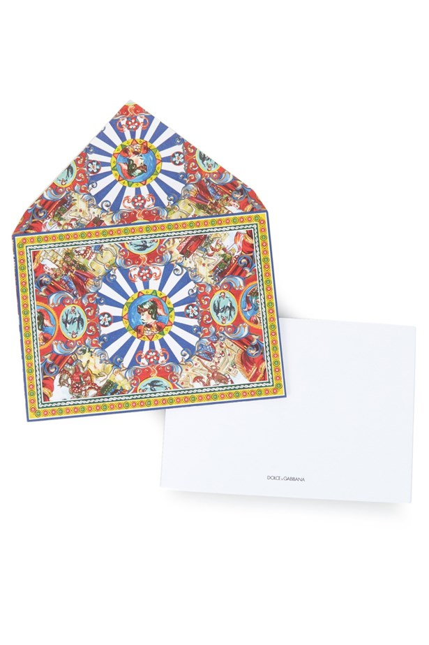 """<a href=""""http://www.matchesfashion.com/au/products/Dolce-%26-Gabbana-Carretto-Face-print-set-of-10-cards--1034571"""">Dolce and Gabbana Carretto Face-print set of 10 cards</a>, $100."""