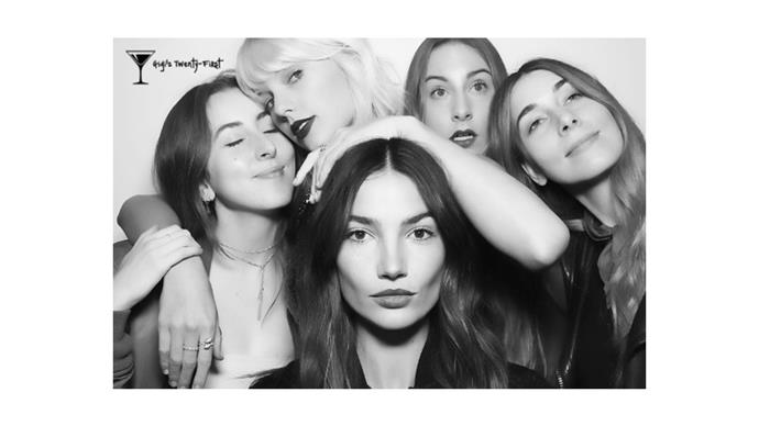 "<strong>Taylor Swift</strong> <br><br> ""We say nothing more than we need. @haimtheband @lilyaldridge"""