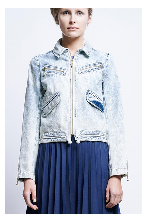 "<a href=""https://www.karenwalker.com/clothing/jackets/aleksey-bomber-6924-01/bleach-wash"">Aleksy Bomber Jacket, $495, Karen Walker at karenwalker.com</a>"