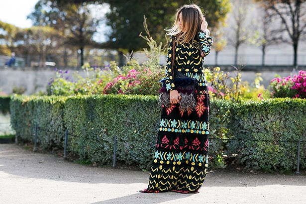 """Valentino is almost single-handedly responsible for fashion's current love affair with folksy printed maxi-dresses. The long sleeves, rich colour palette and trailing hemline make this one a personal favourite."""