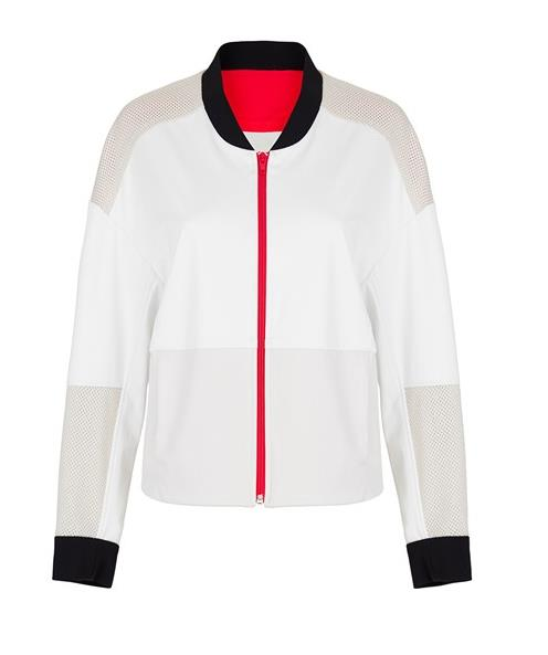 "This bomber-style jacket is perfect pre- or post-workout.<br><br> Jacket, $100, <a href=""https://www.modesportif.com/shop/product/panopoly-jacket-in-ecru"">VPL</a>."