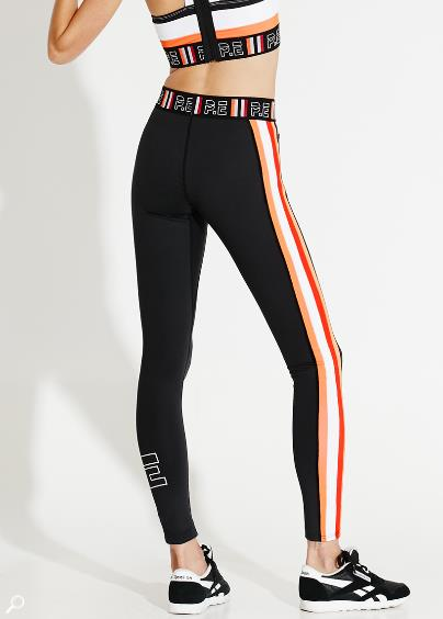 "Racing stripes on your tights make you go faster, right?<br><br> Legging, $119, <a href=""https://pe-nation.com/product/the-action-jackson-legging/"">P.E. Nation</a>."
