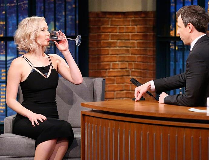 Jennifer Lawrence appears on Late Night with Seth Myers
