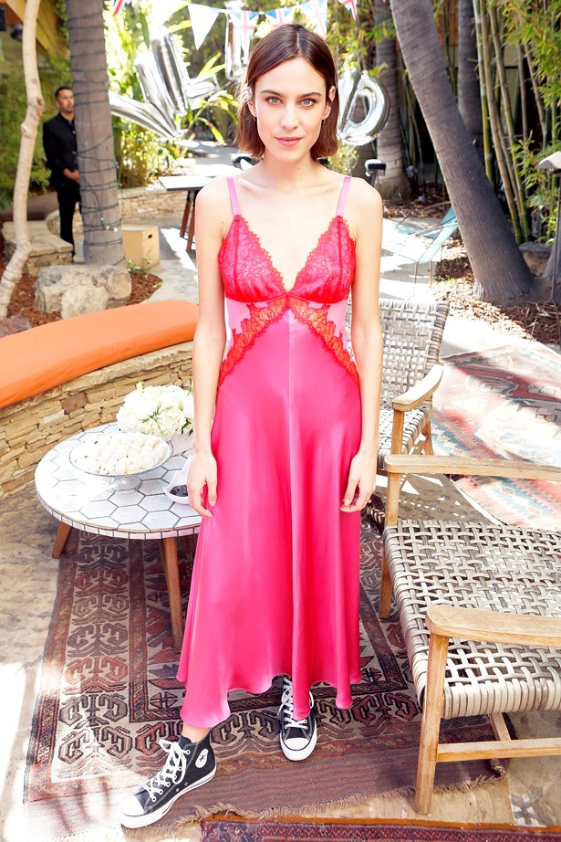 <strong>Alexa Chung, April 2016</strong> <br><br> Villoid garden tea party hosted by Alexa Chung at the Hollywood Roosevelt Hotel.