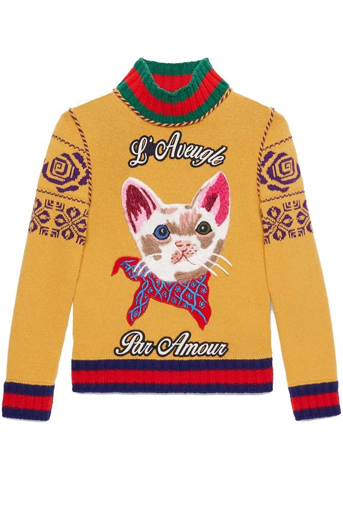 "<a href=""https://www.gucci.com/au/en_au/pr/women/womens-ready-to-wear/womens-sweaters-cardigans/embroidered-merino-wool-turtleneck-knit-p-435041X13317518"">Knit, $1915, Gucci</a>"