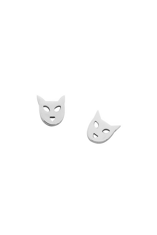 """<a href=""""https://www.karenwalker.com/jewellery/earrings/mini-cat-studs-silver-kw170erstg/silver"""">Earrings, $71, Karen Walker</a>"""