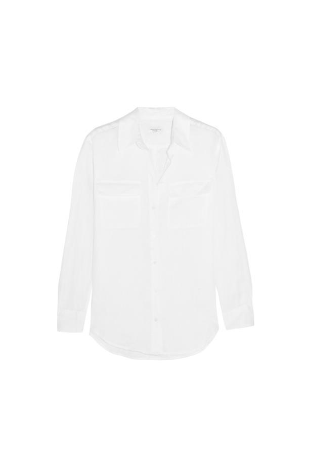 """Shirt, $324, <a href=""""https://www.net-a-porter.com/au/en/product/675272/equipment/signature-linen-shirt"""">Equipment</a>."""
