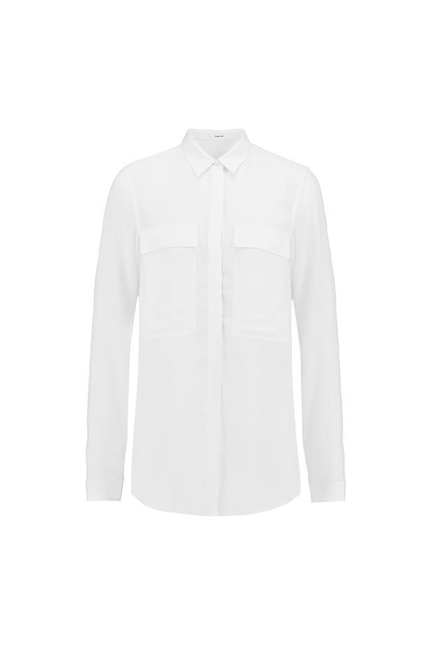 "Shirt, $144, <a href=""https://www.theoutnet.com/en-AU/product/Helmut-Lang/Crepe-shirt/707376"">Helmut Lang</a>."