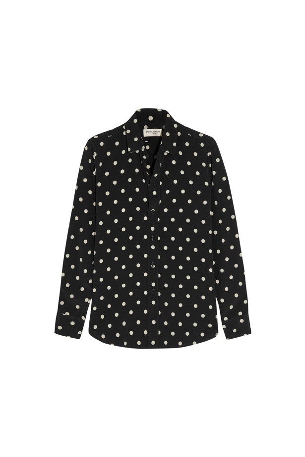 "Shirt, $1,225, <a href=""https://www.net-a-porter.com/au/en/product/651977/saint_laurent/polka-dot-crepe-shirt"">Saint Laurent</a>."