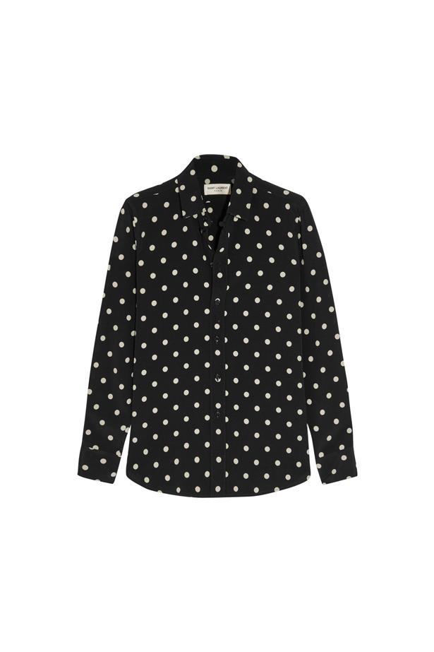 """Shirt, $1,225, <a href=""""https://www.net-a-porter.com/au/en/product/651977/saint_laurent/polka-dot-crepe-shirt"""">Saint Laurent</a>."""