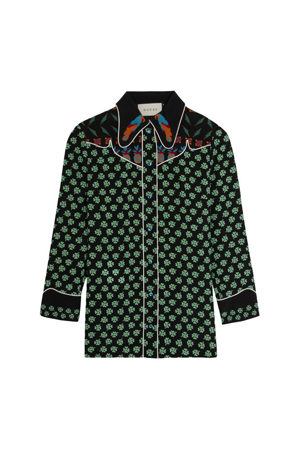 "Shirt, $2,370, <a href=""https://www.net-a-porter.com/au/en/product/682455/gucci/printed-silk-crepe-de-chine-shirt"">Gucci</a>."