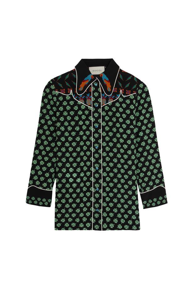 "Shirt, $2,370, <a href=""https://www.net-a-porter.com/au/en/product/682455/gucci/printed-silk-crepe-de-chine-shirt"">Gucci</a>."