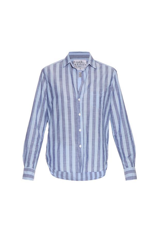 "Shirt, $337, <a href=""http://www.matchesfashion.com/au/products/Frank-%26-Eileen-Eileen-striped-cotton-chambray-shirt-1050579"">Frank & Eileen</a>."