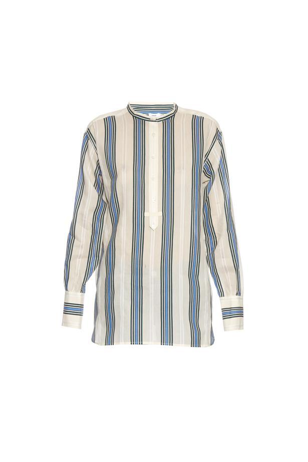 "Shirt, $419, <a href=""http://www.matchesfashion.com/au/products/Vince-Striped-cotton-and-silk-blend-shirt-1046465"">Vince</a>."