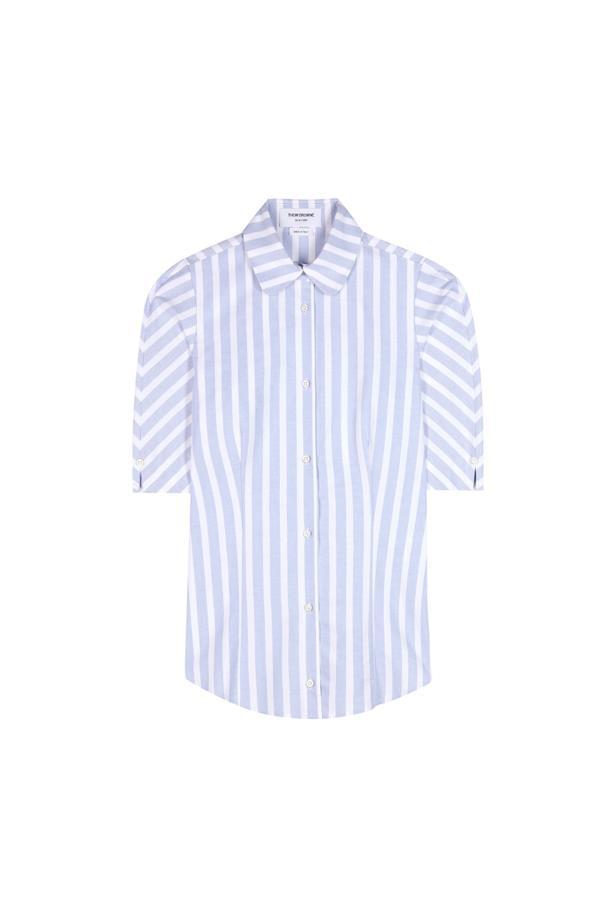 "Shirt, $836, <a href=""http://www.mytheresa.com/en-de/striped-cotton-blouse-570554.html"">Thom Browne</a>."