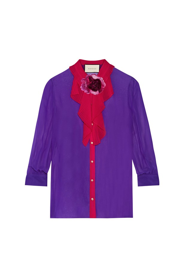 "Shirt, $1,341, <a href=""https://www.net-a-porter.com/au/en/product/643492/gucci/two-tone-silk-georgette-shirt"">Gucci</a>."