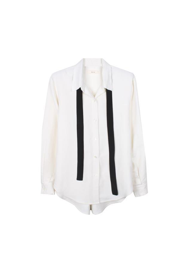 "Shirt, $350, <a href=""https://www.mychameleon.com.au/shirt-with-neck-tie-p-4299.html?currency=AUD&typemf=women"">Matin</a>."
