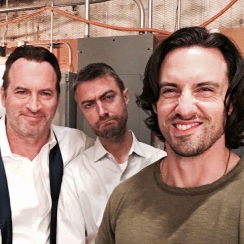 "Scott Patterson, Sean Gunn and Milo Ventimiglia: ""Hello from the past, wait present, no you'll see us in the future :) @warnerbrostv #GilmoreGirls @netflix""."