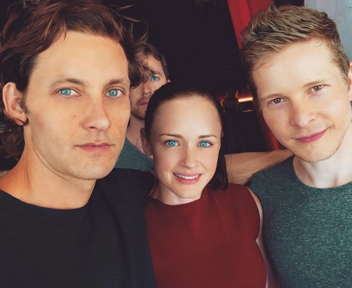 """Tanc Sade, Alexis Bledel and Matt Czuchry: """"Chillin' with #Rory & #Logan. Will they? Won't they? Hmmm. #gilmoregirls #rorygilmore #LoganHuntzberger #finn #lifeanddeathbrigade #alexisbledel #MattCzuchry""""."""