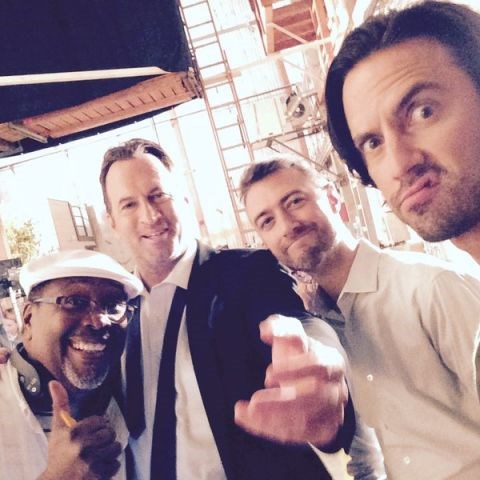 "Scott Patterson, Sean Gunn and Milo Ventimiglia: ""TinkerBell/Capt.Cornball/StunGunn/AngelFace GGBoys Chior! I'm conducting! #GilmoreGirls @MiloVentimiglia #earplugs!!""."