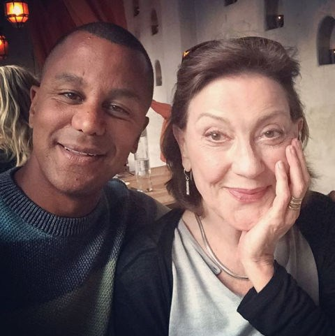 """Yanic Truesdale and Kelly Bishop: """"Between Lauren, Kelly and I, we're the GG pisces mafia. So much fun to catch up with Kelly, beautiful spirit and so talented! #gilmoregirls #netflix""""."""