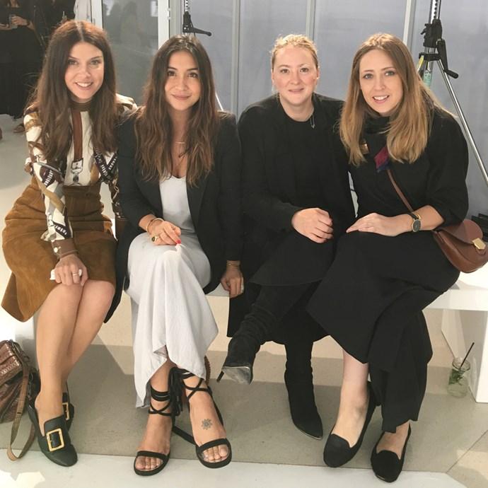 "Fashion director Rachel Wayman in Bally; editor-in-chief Justine Cullen (<a href=""https://www.instagram.com/justine_cullen/"">@justine_cullen</a>) in Equipment and Isabel Marant; contributing fashion editor Sara Smith (<a href=""http://instagram.com/sarasmithstylist"">@sarasmithstylist</a>); and associate editor Genevra Leek (<a href=""https://www.instagram.com/genevra_leek/"">@genevra_leek</a>) in Albus Lumen and Céline."