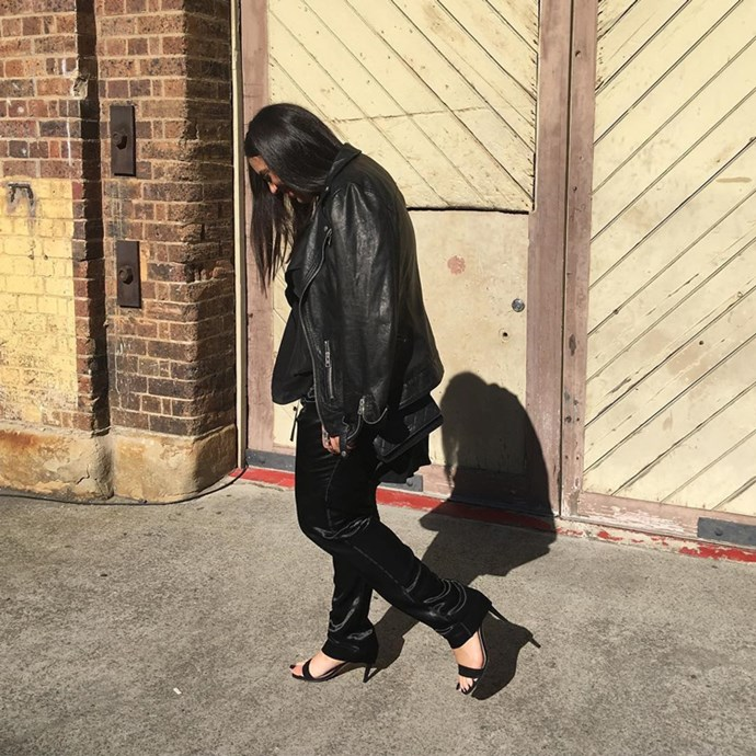 """Bookings and style editor Dannielle Cartisano (<a href=""""https://www.instagram.com/danni_cartisano/"""">@danni_cartisano</a>) in an Acler top, Bassike pants, All Saints jacket, Chanel bag and Céline shoes."""