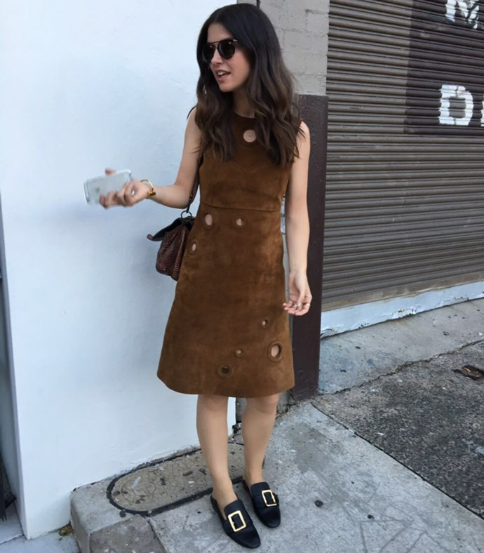 Fashion director Rachel Wayman wears Bally dress and heels, and a Bottega Veneta bag.