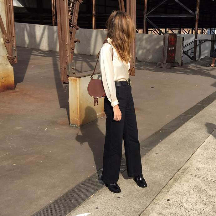 "Market editor Claudia Jukic (<a href=""https://www.instagram.com/claudiajukic/"">@claudiajukic</a>) wears vintage top, Dress Up pants, Hansen and Gretel belt, Zomp shoes and a Chloé bag."