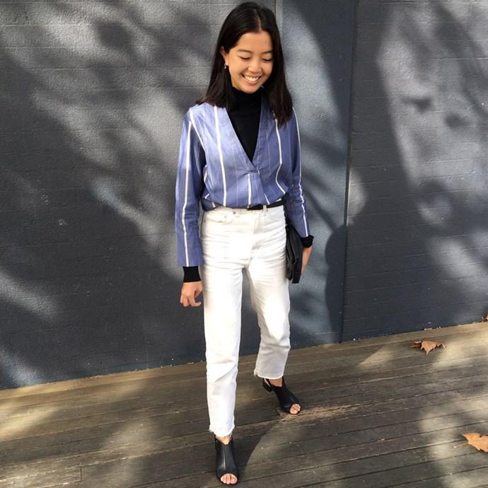 "Fashion office coordinator Samantha Wong (<a href=""https://www.instagram.com/ssamwong/"">@ssamwong</a>) wears Zara skivvy, Tome shirt, Ksubi jeans and Topshop shoes."