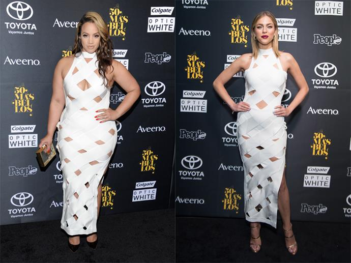 **Dascha Polanco and Daniela Di Giacomo** <br><br> Apparently this white bandage House Of CB dress is the new black, according to *OITNB*'s Dascha Polanco and Miss Venezuela Daniela Di Giacomo, who both wore it to the same event. Both ladies were good sports about their match-up. Rightfully so, they both pulled off the look magnificently.