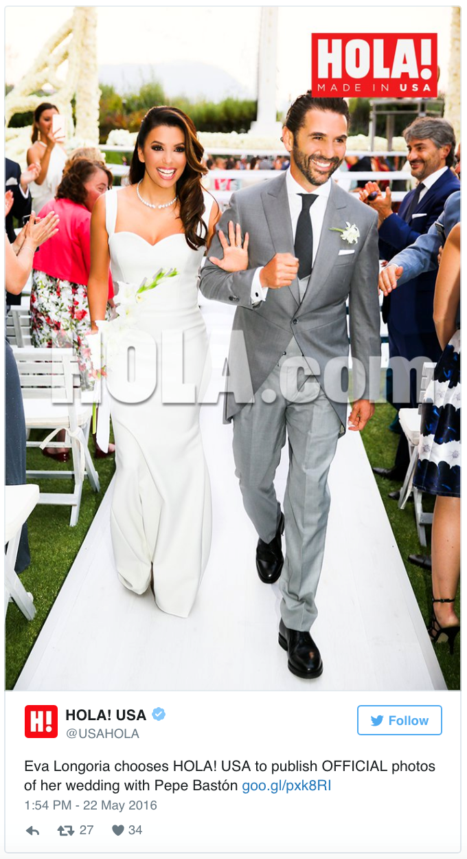 "Eva Longoria married her fiance José Antonio Bastón in Mexico this weekend, where she wore a dress designed - of course - by her close friend Victoria Beckham. In the picture, released exclusively by <a href=""http://us.hola.com/hola-en-ingles/201605213857/eva-longoria-wedding-photos-pepe-baston-mexico-exclusive//?utm_campaign=holaus&utm_medium=social_media&utm_source=twitter"">Hola Magazine</a>, you can see Eva added a diamond necklace and a side-swept 'do to her understated look."