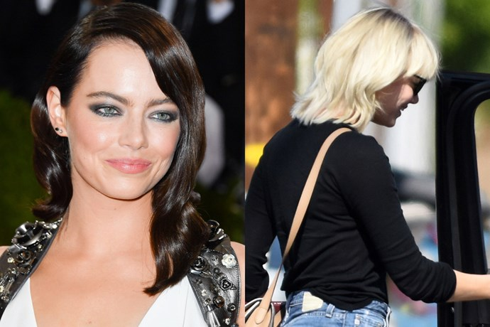 <p> <strong>Emma Stone</strong></p> <p>After crossing over to the dark side for awhile there (including for the Met Gala earlier this month), Emma Stone has just stepped out with a shorter, platinum blonde 'do.</p>