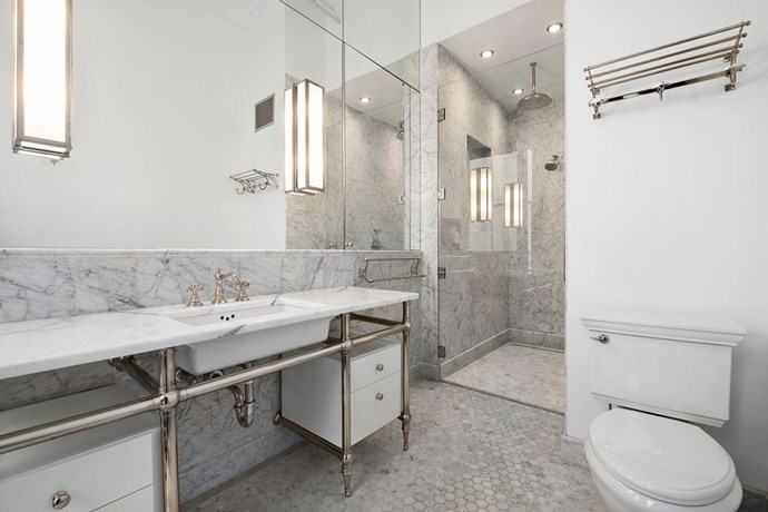 Marble for days. Talk about bathroom goals.