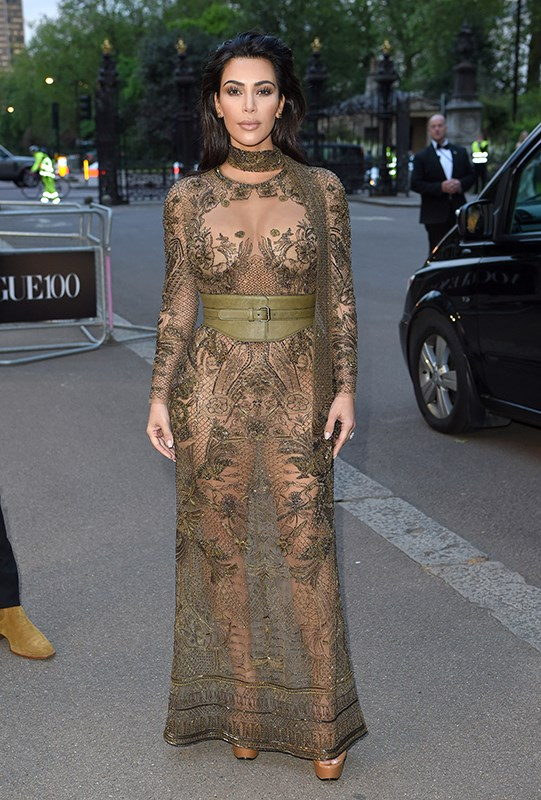 Kim Kardashian wore this very naked dress to the Vogue 100 Festival Gala in London.