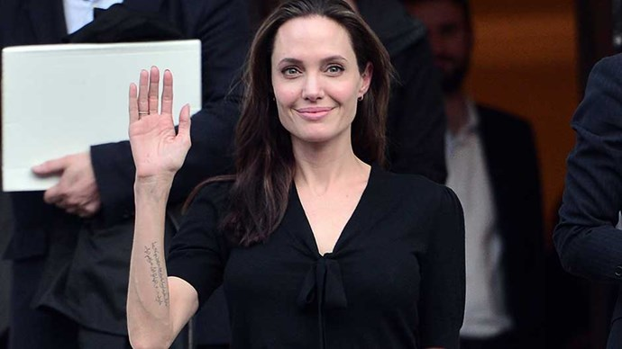 Hollywood star and UN refugee agency envoy Angelina Jolie leaves a meeting with Greek Prime minister