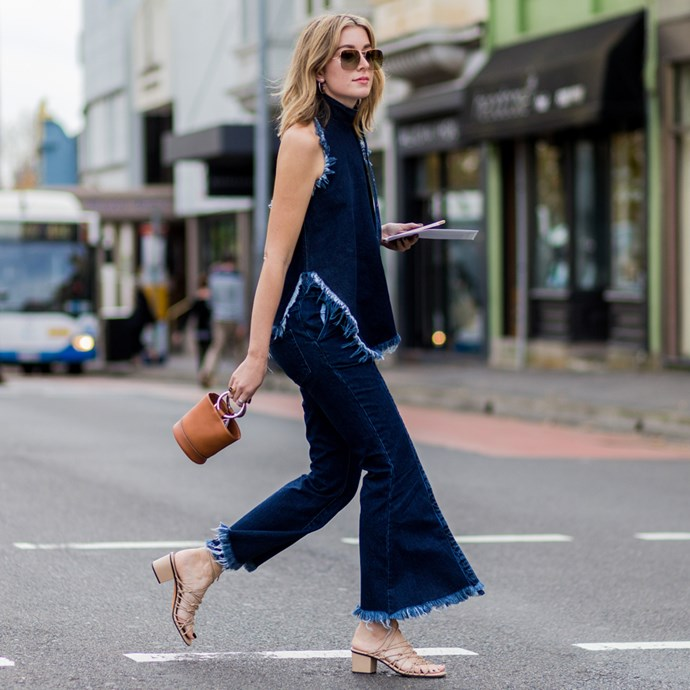 street style cropped denim flares