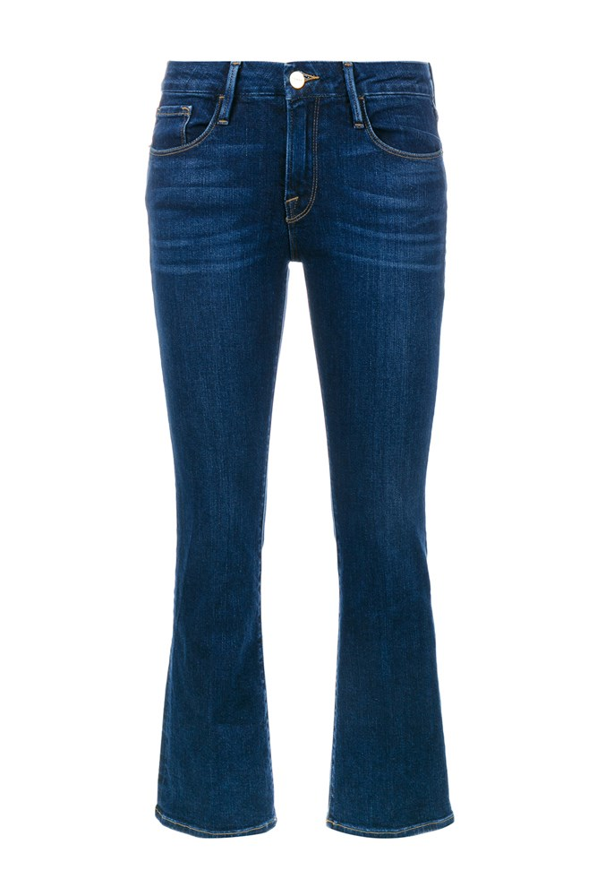 "<a href=""http://www.brownsfashion.com/product/014C32870002/109/cropped-kick-flare-jeans"">Jeans, $445, Frame Denim at brownsfashion.com</a>"