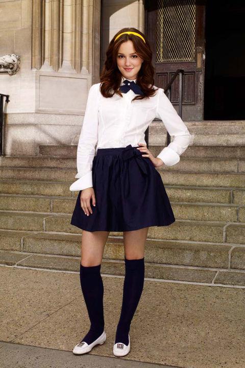 One of her many classic Constance Billard school uniforms.