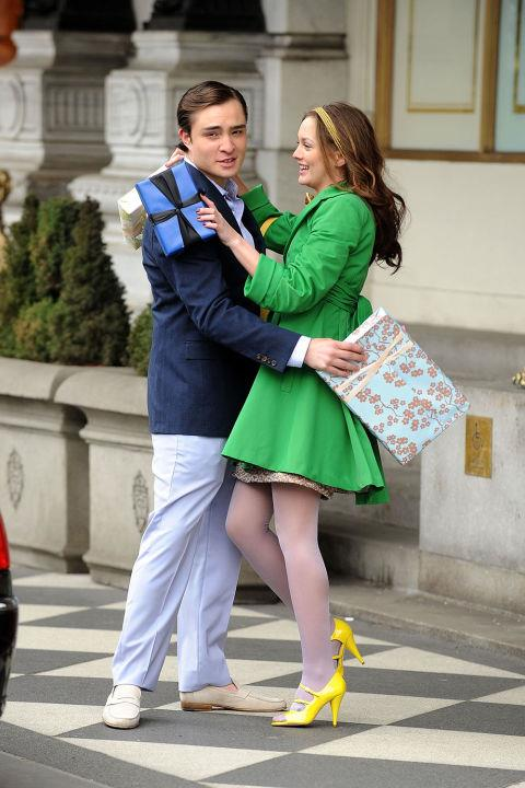 Her season of lime green outerwear to symbolise her summer of love with Chuck.