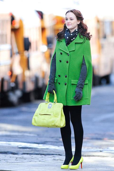 Yet another moment in green outwear, this time to (almost) become engaged to Chuck.