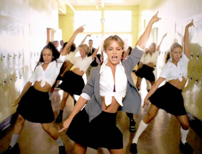 """<p><strong>BRITNEY SPEARS, 1998</strong><p><p> When it came to filming the music video for her debut single, """"...Baby One More Time,"""" Britney Spears had a great degree of creative input. She decided the story should follow a girl at school and that she should wear that controversial midriff-baring uniform. """"My idea originally was just jeans and T-shirts,"""" the video's director Nigel Dick told MTV News. """"We were at the wardrobe fitting and Britney holds up the jeans and T-shirts and says, 'Wouldn't I wear a schoolgirl outfit?'"""""""