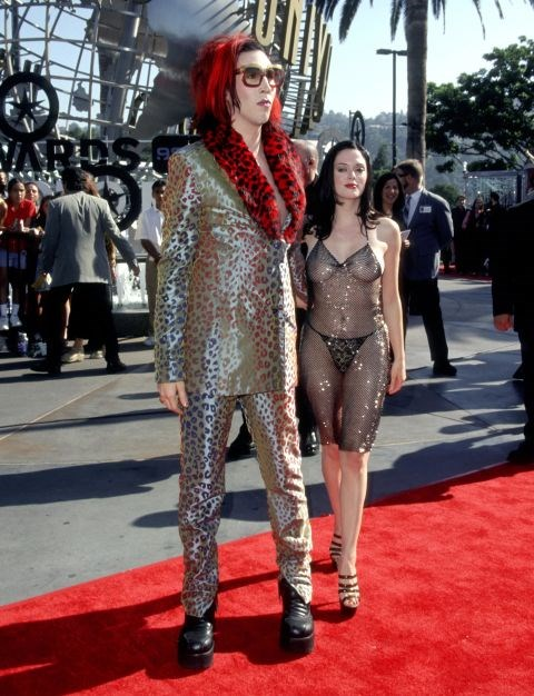 <p><strong>ROSE MCGOWAN, 1998</strong><p><p> Jaws dropped when Rose McGowan arrived at the MTV VMAs in 1998 wearing a see-through beaded dress that exposed her bare breasts and butt (she was wearing a G-string, so some parts remained unseen).