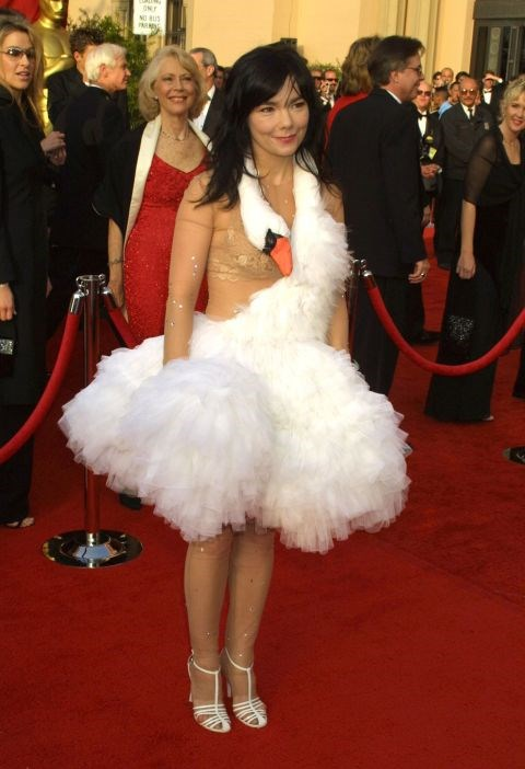 """<p><strong>BJORK, 2001</strong><p><p> Designed by Marjan Pejoski, this notorious dress featured a swan draped around the neck (with the swan's beak landing just at Björk's chest) and a tulle skirt. The dress was widely panned, but it represented the singer's """"obsession"""" with swans at the time (she later wore the dress for the cover of her album Vespertine. Björk even """"laid"""" ostrich eggs as she made her way down the red carpet. In 2015, the dress ended up in New York City's Museum of Modern Art as part of a retrospective on the singer's career."""